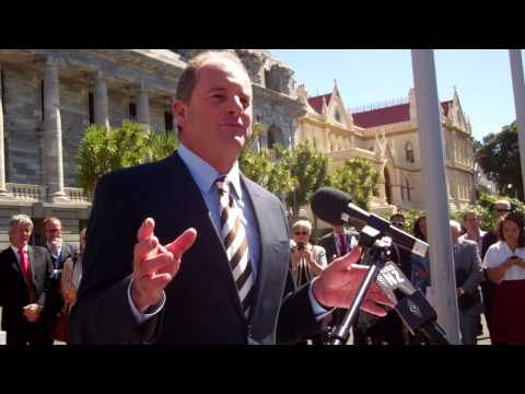 David Shearer at State Asset Sales referendum protest