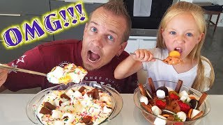 ULTIMATE Ice Cream Sundae Challenge With My Dad for His Birthday!!!
