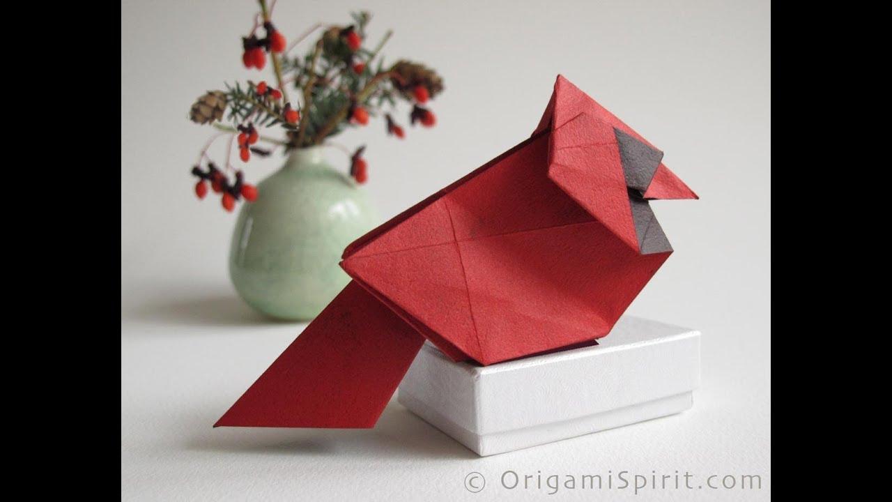 Christmas Origami Diagram 36v Battery Wiring Make A Cardinal For Cardenal De Navidad Youtube