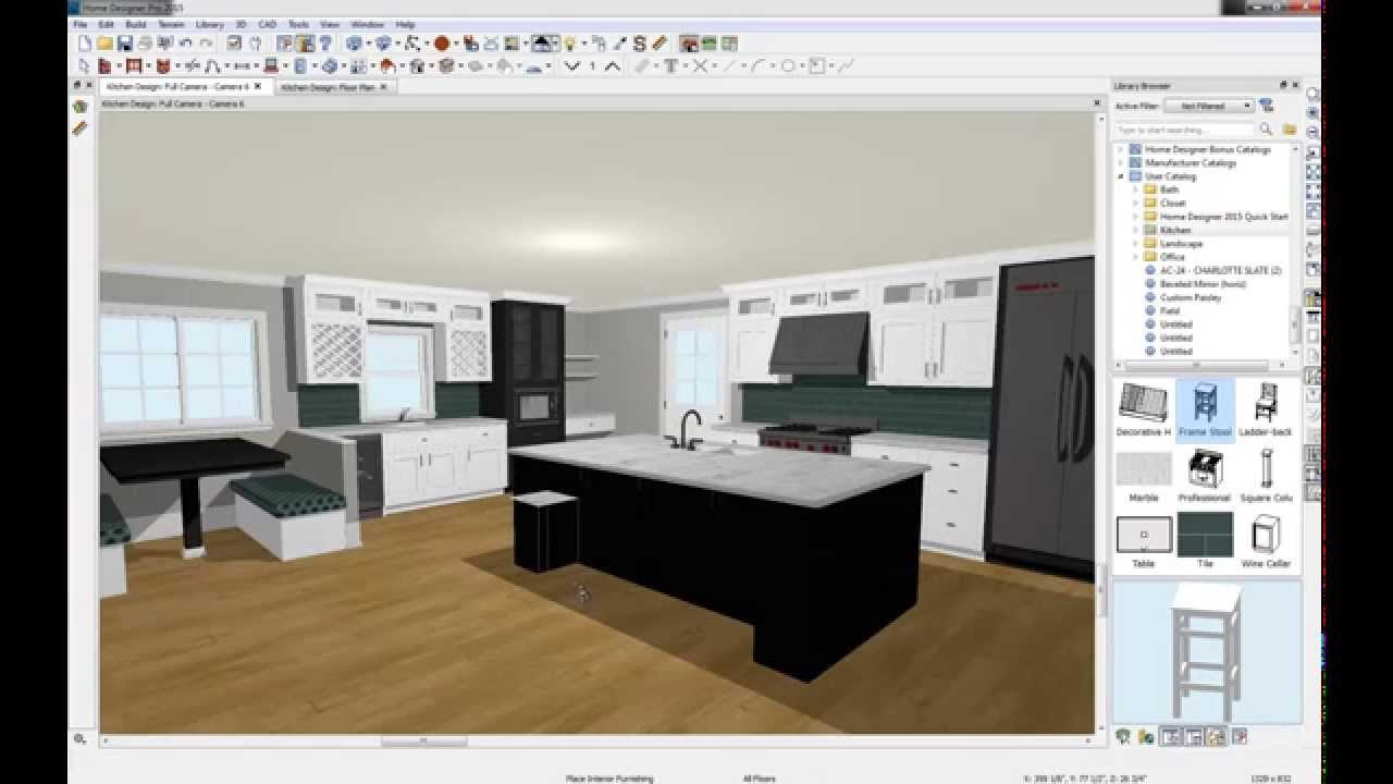 Home designer 2015 kitchen design youtube for Home kitchen design