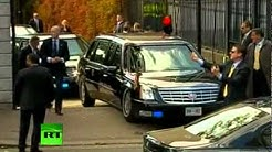 Video of Obama 'Beast' Cadillac limo stuck on ramp in Ireland