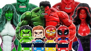 Avengers, Red Hulk Go~! Iron Man, Spider-Man, Captain America, Thanos, Venom, Tayo, She-Hulk