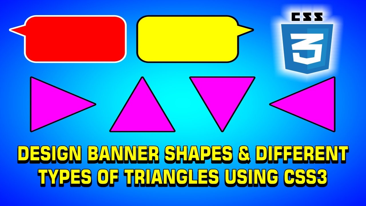 How to Design Banner Shapes & Different Types of Triangles Using CSS3 | Web  Design Tutorial - YouTube
