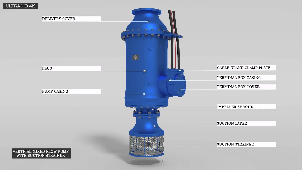 Vertical Mixed Flow Pump With Suction Strainer Animation
