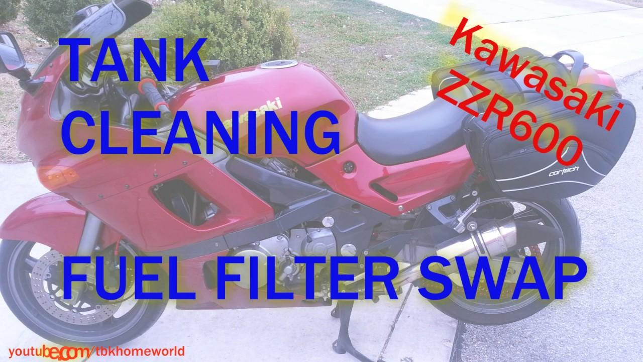 gas tank cleaning petcock rebuild fuel filter swap 2004 kawasaki zzr600 [ 1280 x 720 Pixel ]