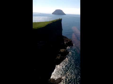 Helicopter over Stora Dimun, Faroe islands