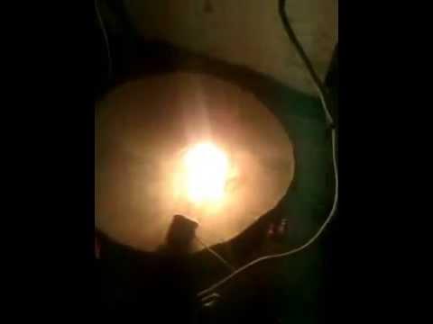 Результат розжига ДРЛ-250 с балластом в виде  лампы накаливания на 500 ватт.