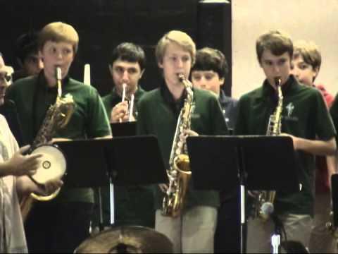 Laurel Hall school band perfom with Quarteto Neuvo