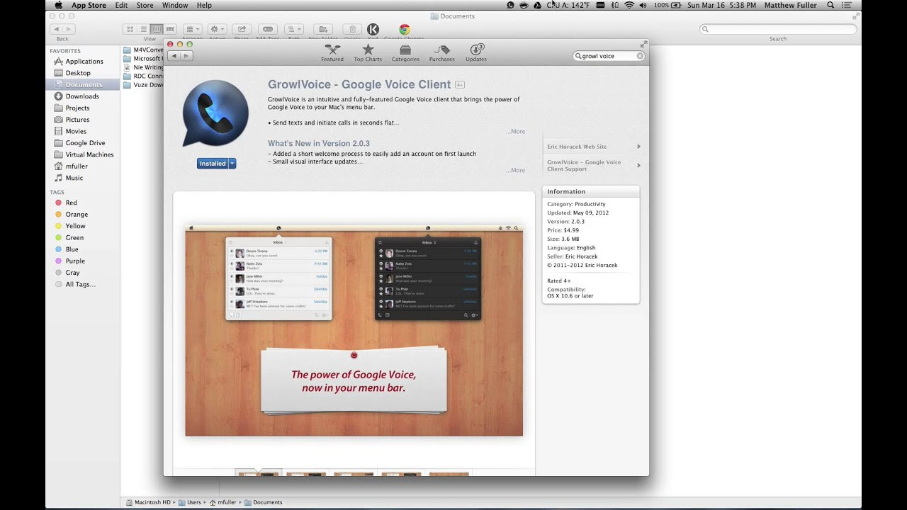 Access Google Voice from Mac
