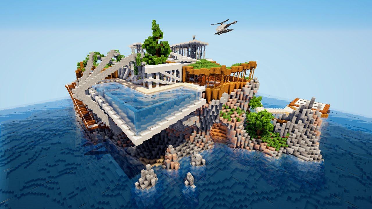 Minecraft Maison Moderne Sur Une Ile Epic O Youtube