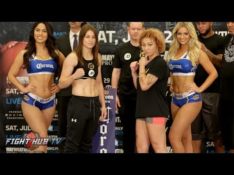 KATIE TAYLOR VS. JASMINE CLARKSON FULL WEIGH IN & FACE OFF VIDEO