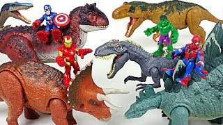 Marvel Avengers Hulk, Spider Man! Ride Jurassic World dinosaurs and defeat villains! - DuDuPopTOY thumbnail