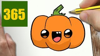 HOW TO DRAW A PUMPKIN CUTE, Easy step by step drawing lessons for kids