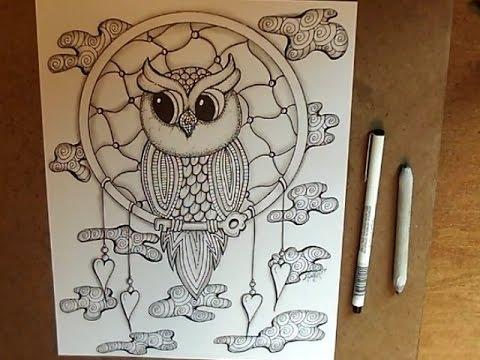 Dream Catcher Owl Doodle Youtube