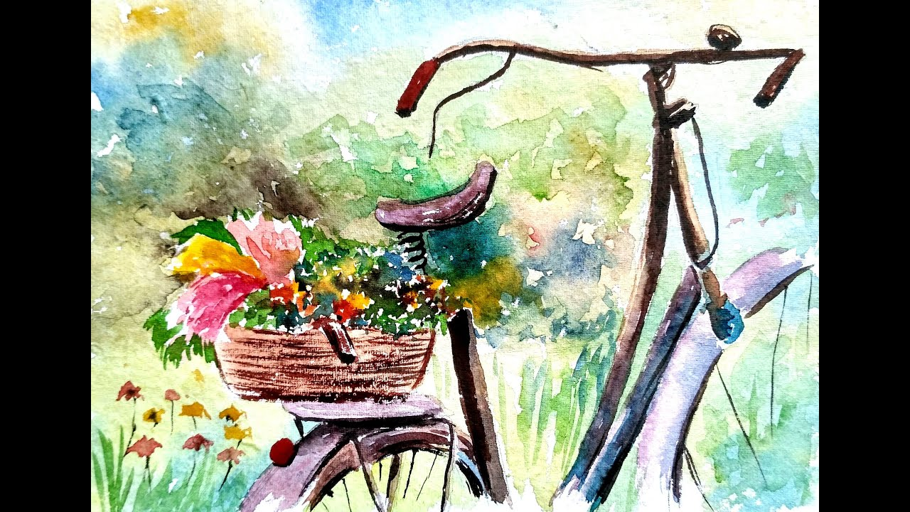 How to Paint Bicycle Basket with Flowers | WATERCOLOR PAINTING ...
