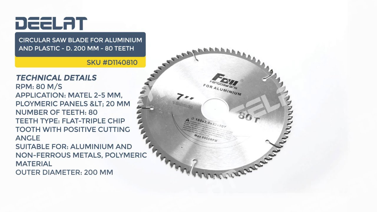circular saw blade types. circular saw blade for aluminium and plastic - d. 200 mm 80 teeth types