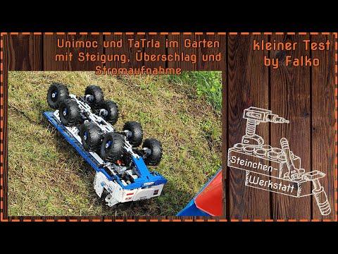 Unimoc und TaTrla im Garten   Steigung   Fahren   Überschlag   Stromaufnahme