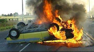 Car catches fire after flipping near Christchurch
