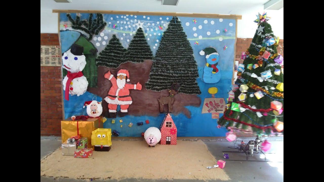 Lleg la navidad a nuestra secundaria youtube - Murales decorativos de navidad ...
