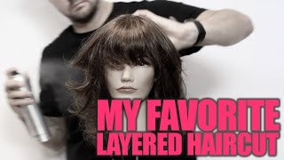 How To Cut My FAVORITE Layered Haircut with a Shattered Bang Step By Step