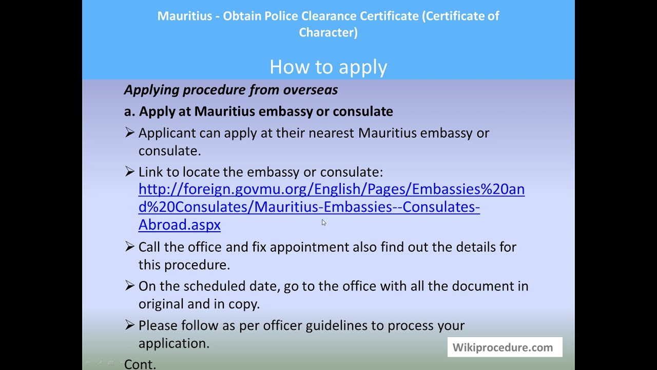 Mauritius - Obtain Police Clearance Certificate (Certificate