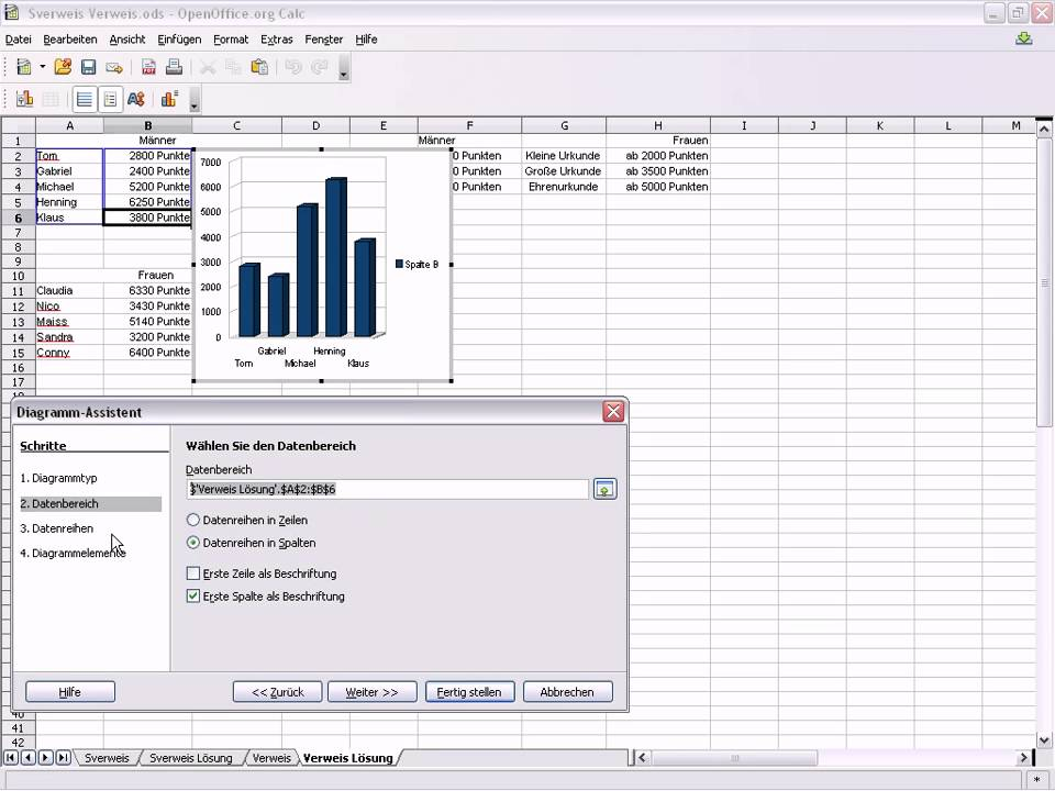 OpenOffice Calc Diagramm erstellen - YouTube