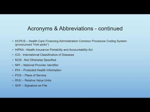 Medical Billing Terminology, Acronyms, & Abbreviations