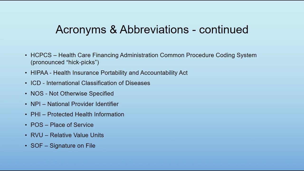 medical billing terminology acronyms abbreviations youtube