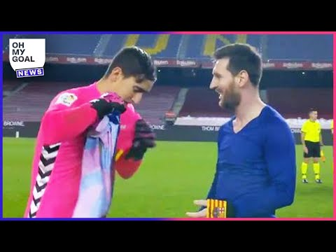 Lionel Messi asks for the Elche keeper's jersey and leaves him speechless | Oh My Goal