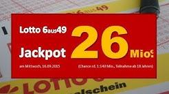 Lotto News: Am Mittwoch (16.09.) satte 26 Millionen Euro im Jackpot