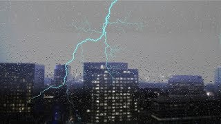 🎧 THUNDER & RAIN with Lightning in the City | Ambient Noise Sleep Sounds, @Ultizzz day#42