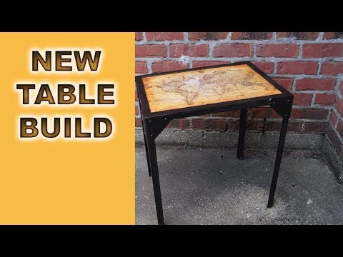 Industrial End Table, Old Map Top, Pour on Epoxy, BEAUTIFUL!!