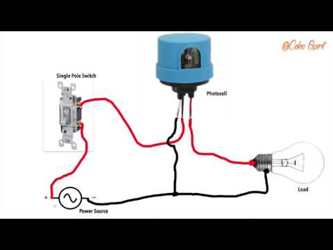 HOW TO WIRE A PHOTOCELL IN A CIRCUIT - YouTube Photocell Wiring on