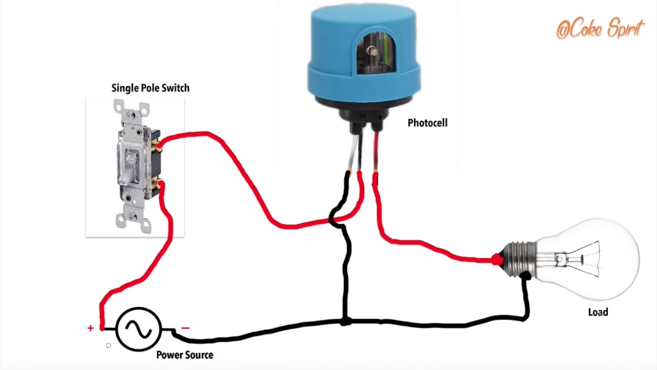 maxresdefault how to wire a photocell in a circuit youtube dusk to dawn sensor wiring diagram at bakdesigns.co