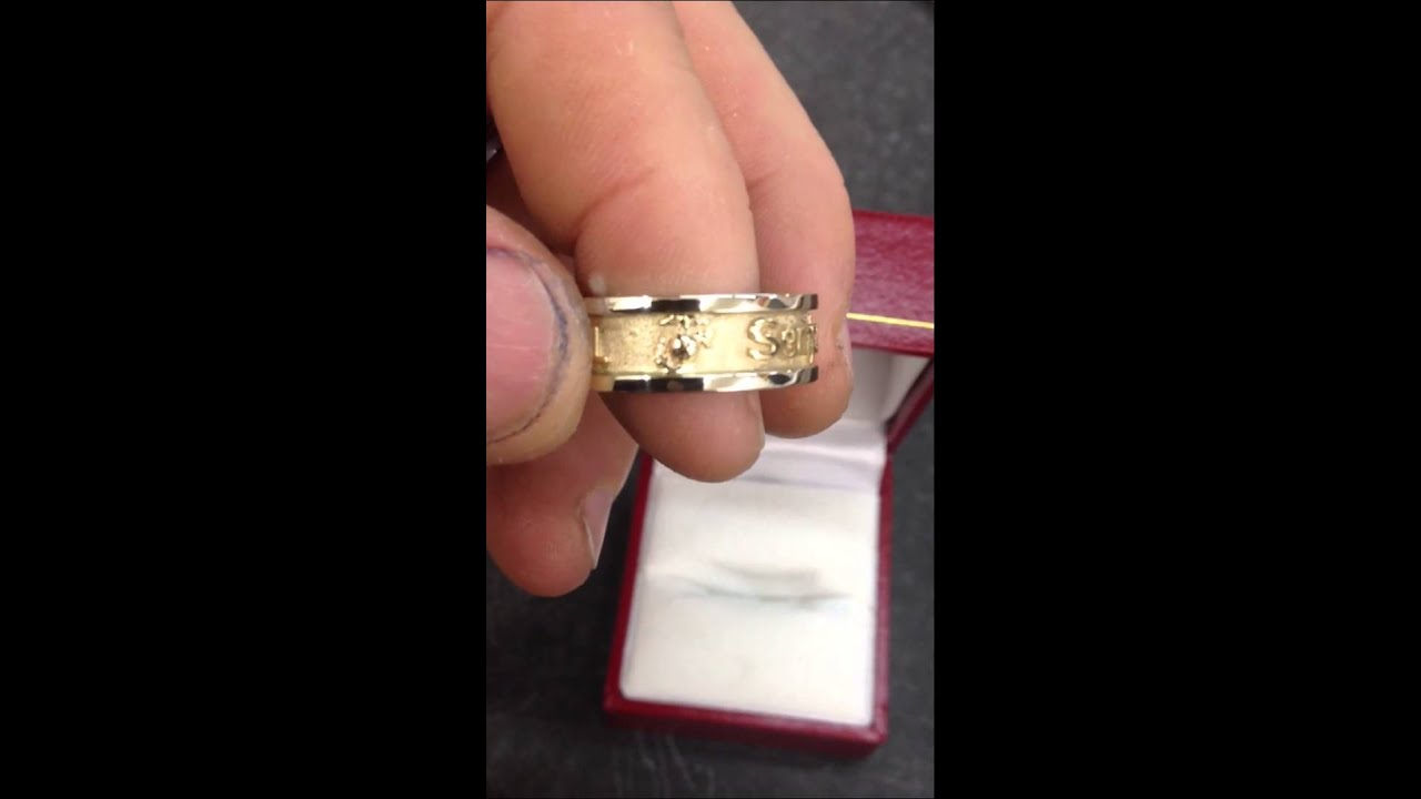Two Tone Gold Marine Corps Wedding Ring