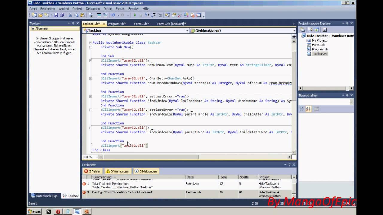 Visual Basic - Hide Taskbar and Startbutton