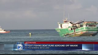 20 fishermen rescued after boat runs aground off Waikiki