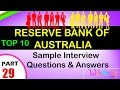 reserve bank of australia top interview questions and answers for freshers /experienced videos