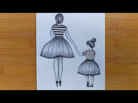 Mother's Day Drawing with Pencil sketch for beginners -Step by step thumbnail