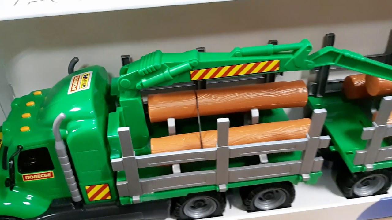 Игрушечный грузовик лесовоз с прицепом - YouTube