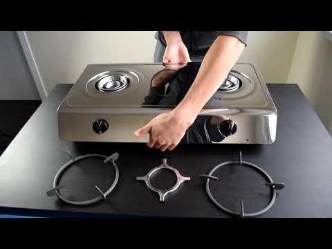 NJ 200SD Gas stove 2 burners professional lpg stainless steel cast iron pan  ffd