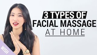 Korean V line Massage | 3 Types of Facial Massage at Home | Wishtrend TV