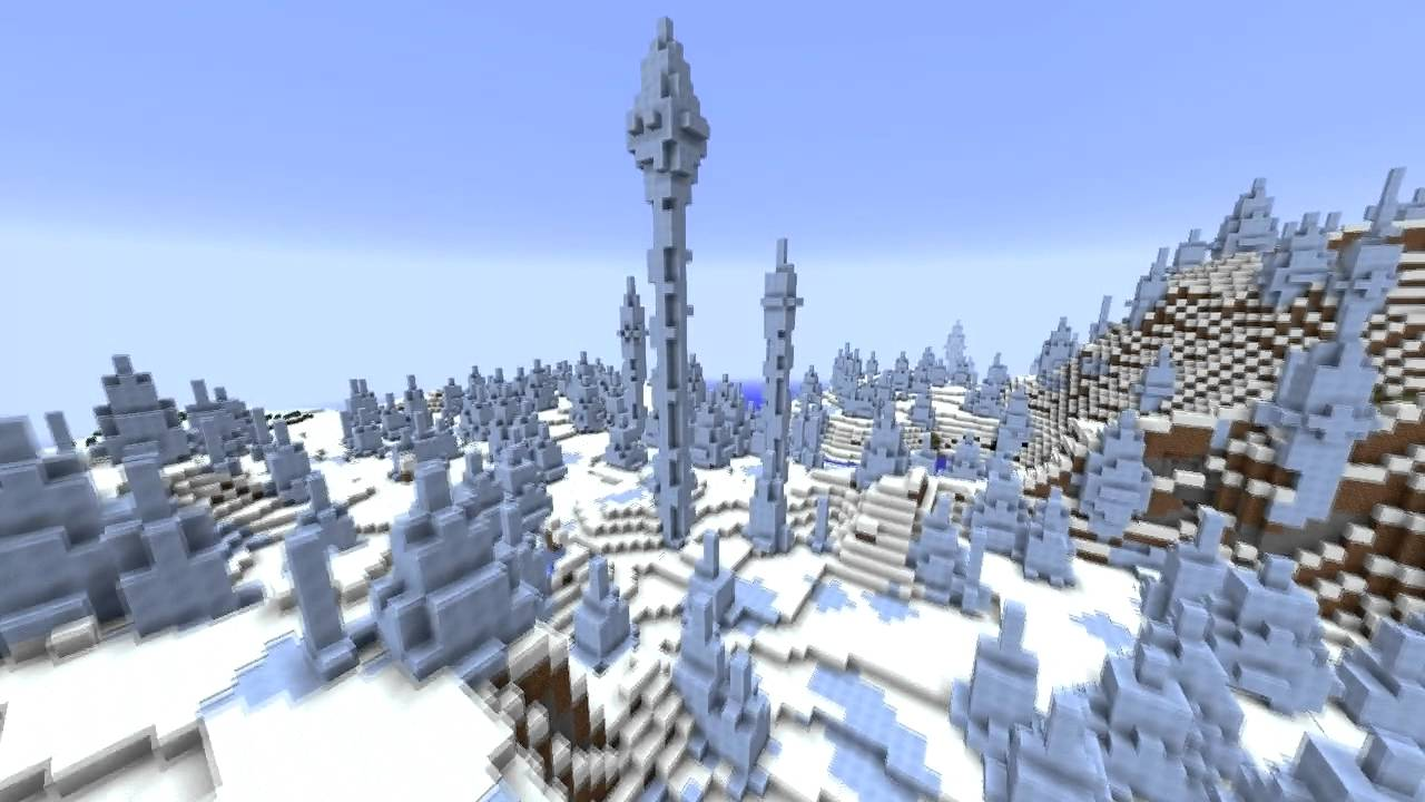 Minecraft Generated Structures: Ice Plains Spikes - YouTube