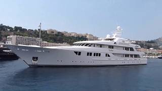 Superyacht Callisto - owned by Derrick Smith -  leaving Monaco