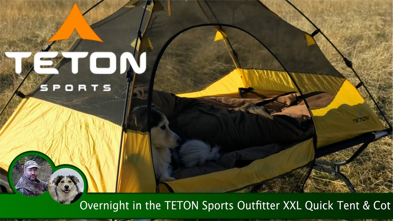 & Overnight in the TETON Sports Outfitter XXL Quick Tent u0026 Cot - YouTube