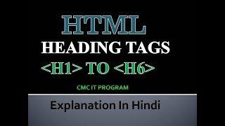 Wie Erstellen Sie Überschriften Mit h-tag In HTML[HINDI]