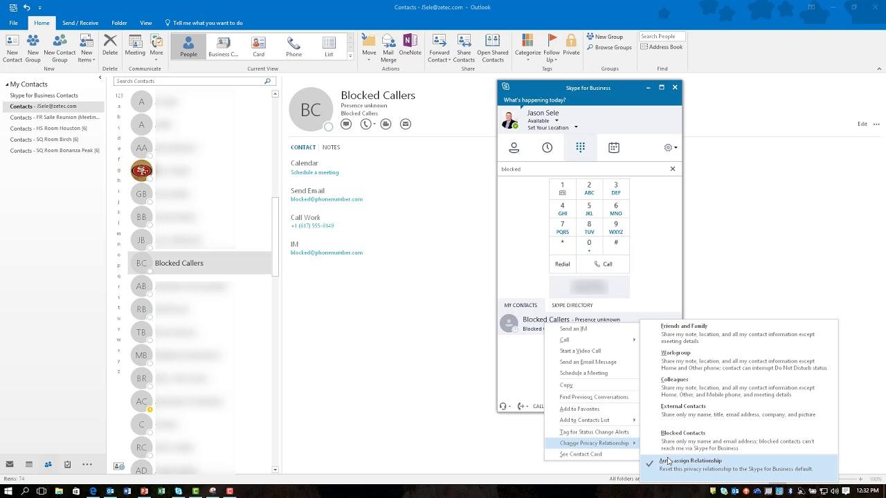 Block Calls in Skype for Business