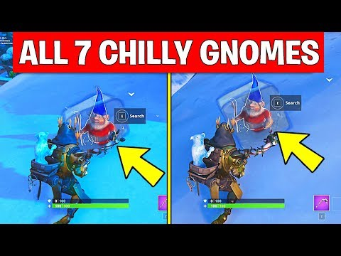 Search Chilly Gnomes - ALL 7 LOCATIONS WEEK 6 CHALLENGES FORTNITE SEASON 7