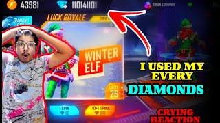 FREEFIRE || I USED MY EVERY DIAMOND ON WINTER ELF || OMG CRYING MOMENT FOR TSG ARMY