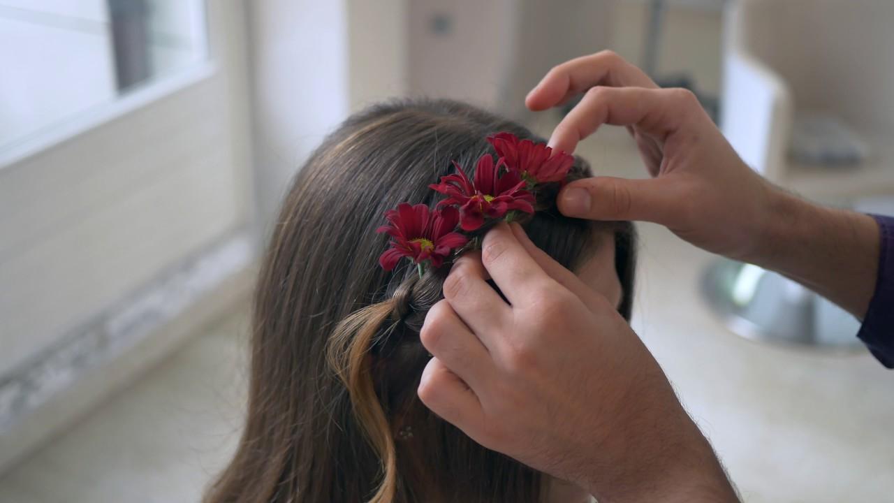 Brautfrisur Mit Blumen Youtube